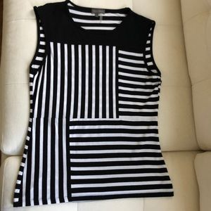 Vince Camuto black and white stripe tank